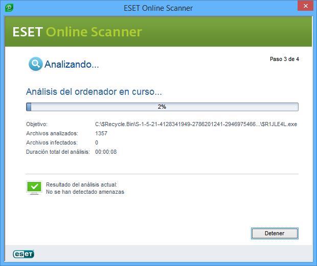 Antivirus Online Gratis analizando virus.