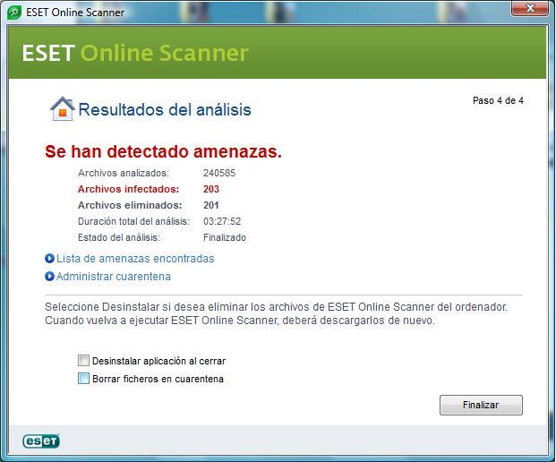 Resultado del analisis de ESET Online Scanner.