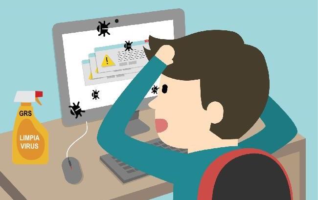 Ordenador infestado por virus y usuario tirandose de los pelos