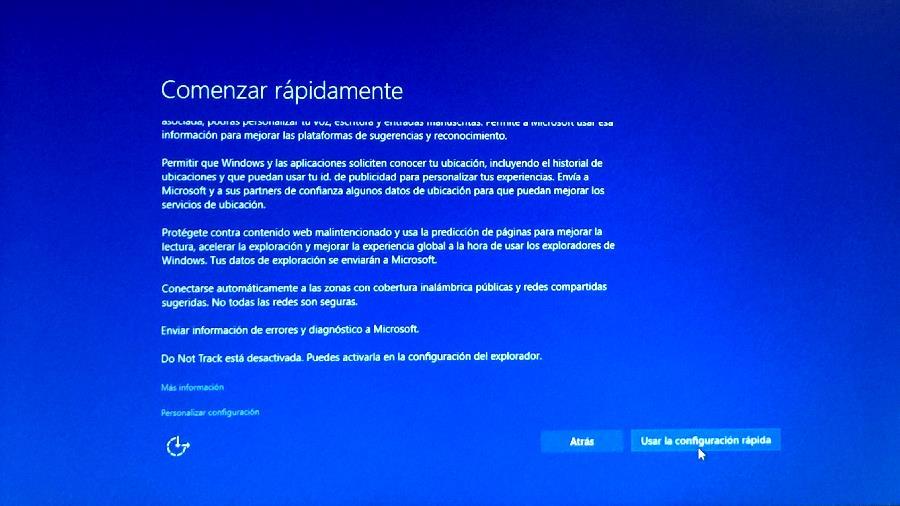 Configuración rápida de windows 10