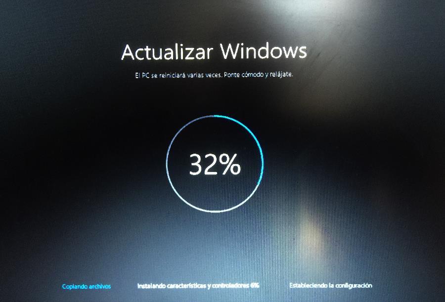 Fase 1 Copiando archivos actualización de windows 10