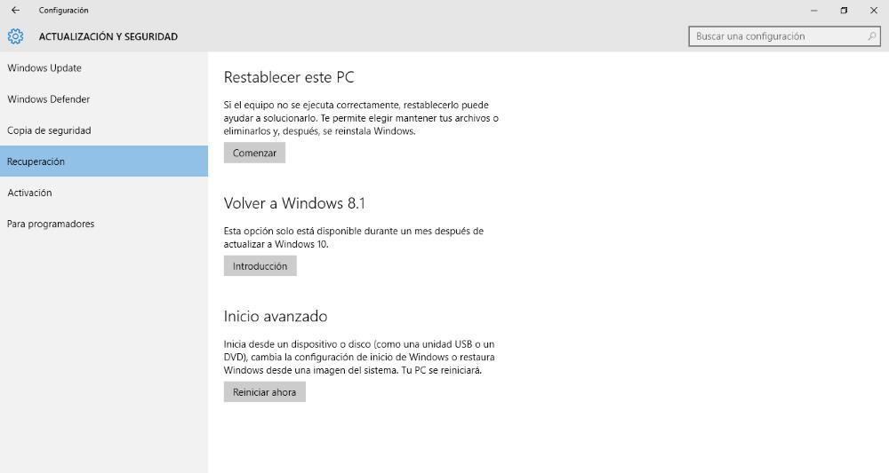 Des-instalar actualización de windows 10