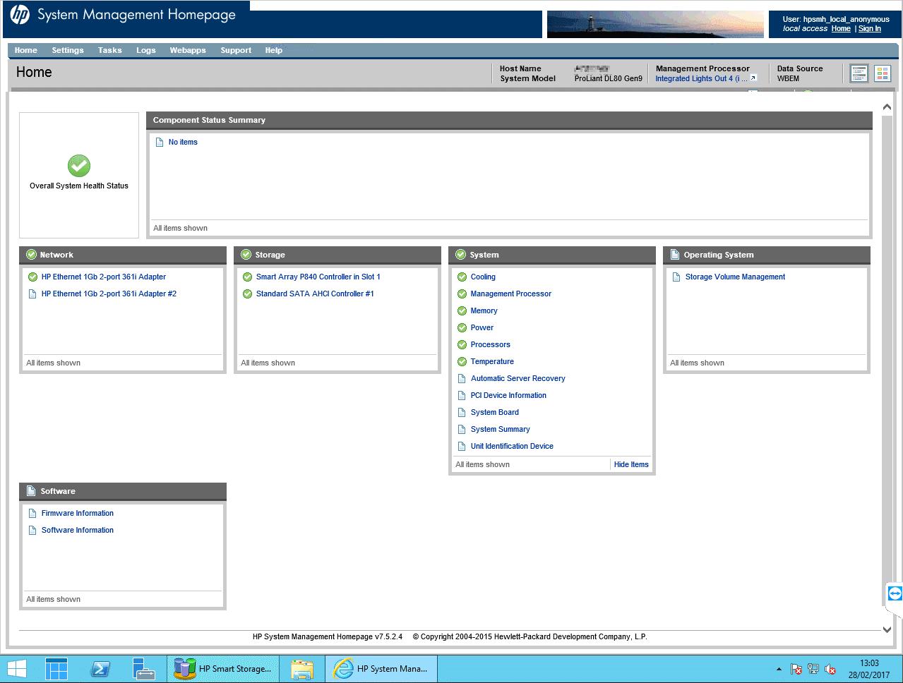 Vista Informe de estado de los elementos hardware obtenido trabajos de Mantenimiento, administración de servidores para empresas.